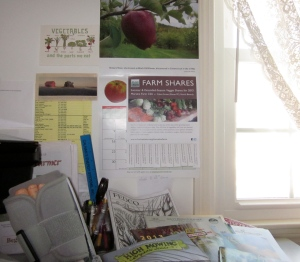 View from my office: broken toe, seed catalogs & out the window