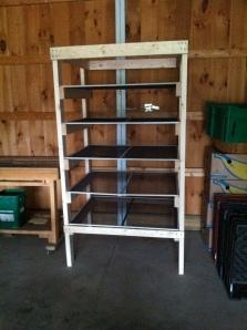 Herb drying rack built by volunteer Laurie P.
