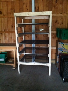 Herb drying rack built by volunteer Laurie P.