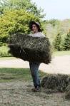Sarah, hauling hay